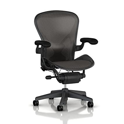 Herman Miller Aeron Tilt Limiter Task Chair, Adjustable Vinyl Arms,  Graphite Frame / Carbon