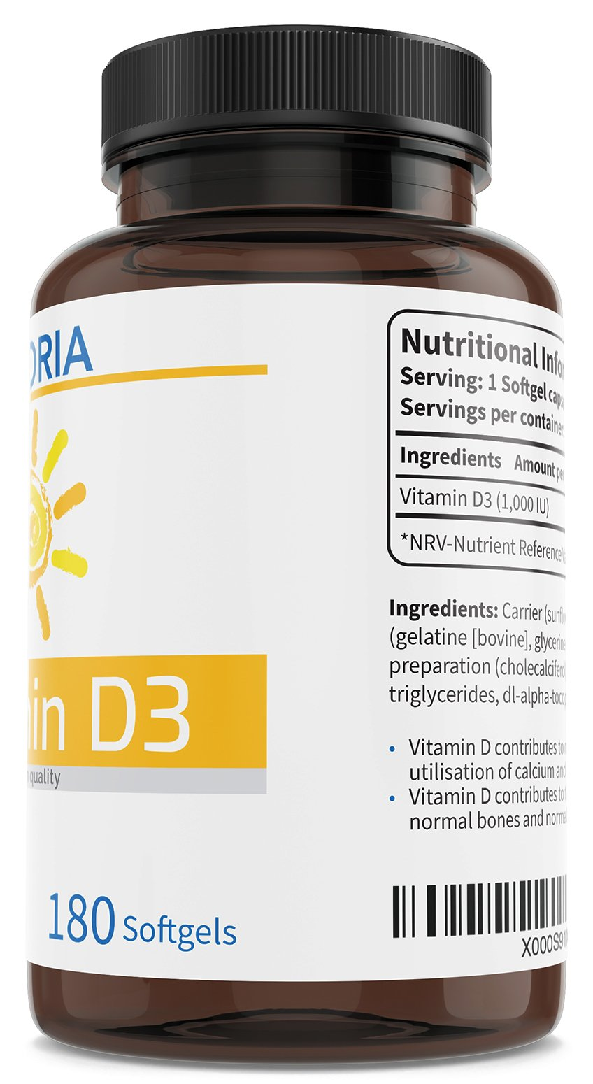 Vitamin D3 1000 IU Optimal Strength 180 Softgels - 6 Month Supply - Food Supplement for Immune Support, Healthy Joints, Muscles, and Strong Bones and Teeth - Non-GMO - Allergen-Free | Made in The UK