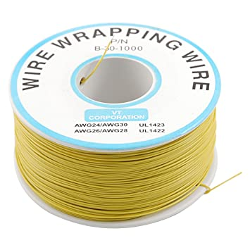 Yellow PVC Coated Tin Plated Copper Wrapping Wire Wrap 305M 30AWG ...