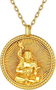 ChicSilver Unisex Buddha Pendant Necklace 925 Sterling Silver Bodhisattva Amulet/Talisman 18K Gold Plated Chinese Constellation Zodiac Coin Necklace (with Gift Box)