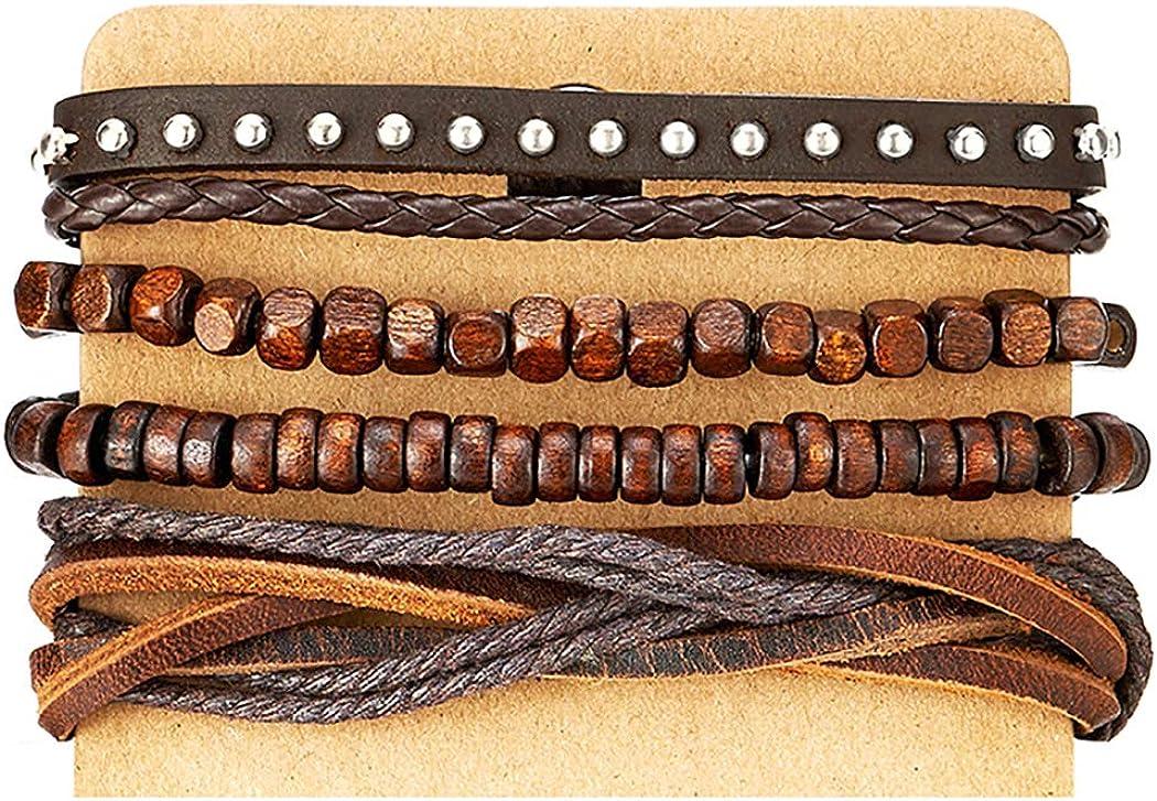Mezcla de 4marrón Wrap pulseras para los hombres y las mujeres, Multi-Strand cuentas de madera pulseras de cuero remaches