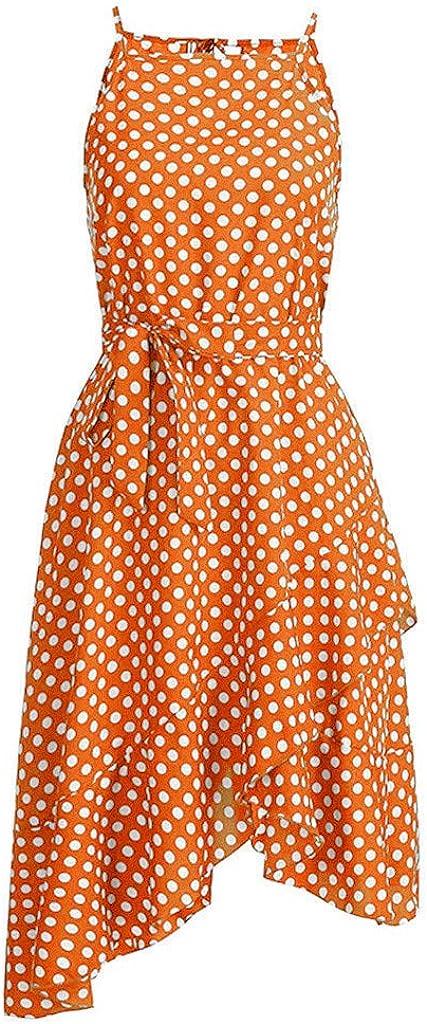 Fudule Women Dresses Summer Sleeveless Polka Dot Print Dresses Beach Holiday Casual Swing Dress for Women Sundress