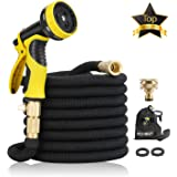"15M Garden Hose - ALL NEW Expandable Garden Hose with Double Latex Core, 3/4"" Solid Brass Fittings, Australian Standard Universal Tap Adaptor, Expandable Water Hose Set for Car Wash, Extra Strength Fabric - Flexible Expanding Water Hose with 9 Function Spray Nozzle by McHose (black)"