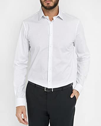 Calvin Klein Bari Slim Fit Ftc-camisa Hombre 1 blanco blanco 38: Amazon.es: Ropa y accesorios