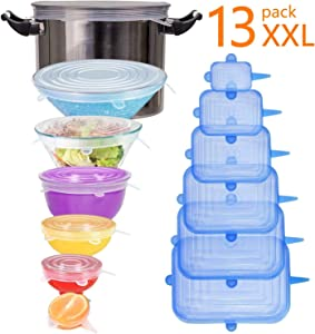 longzon Silicone Stretch Lids, [13 Pack] XXL Up to 9.8'' Diameter, 7 Round and 6 Rectangular Miracle Lids,Durable,Reusable Stretch Food Saving Covers for Cups,Bowls,Cans,Using in Microwave&Freezer