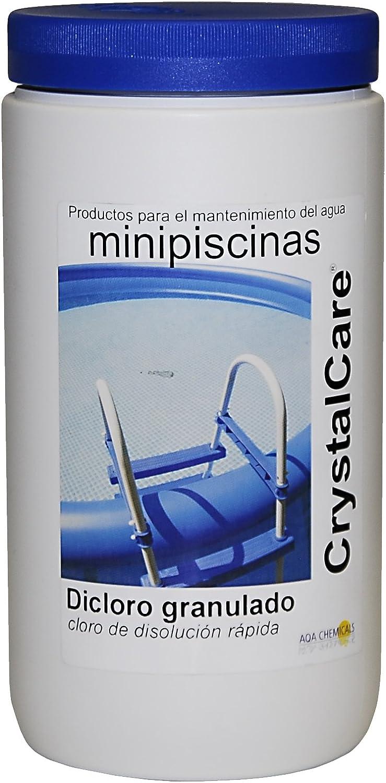 CrystalCare Di Cloro Granulado 56% DE Rápida Disolución, para la Cloración y Desinfección del Agua de Piscinas. Especial minipiscinas. Bote 1 kg