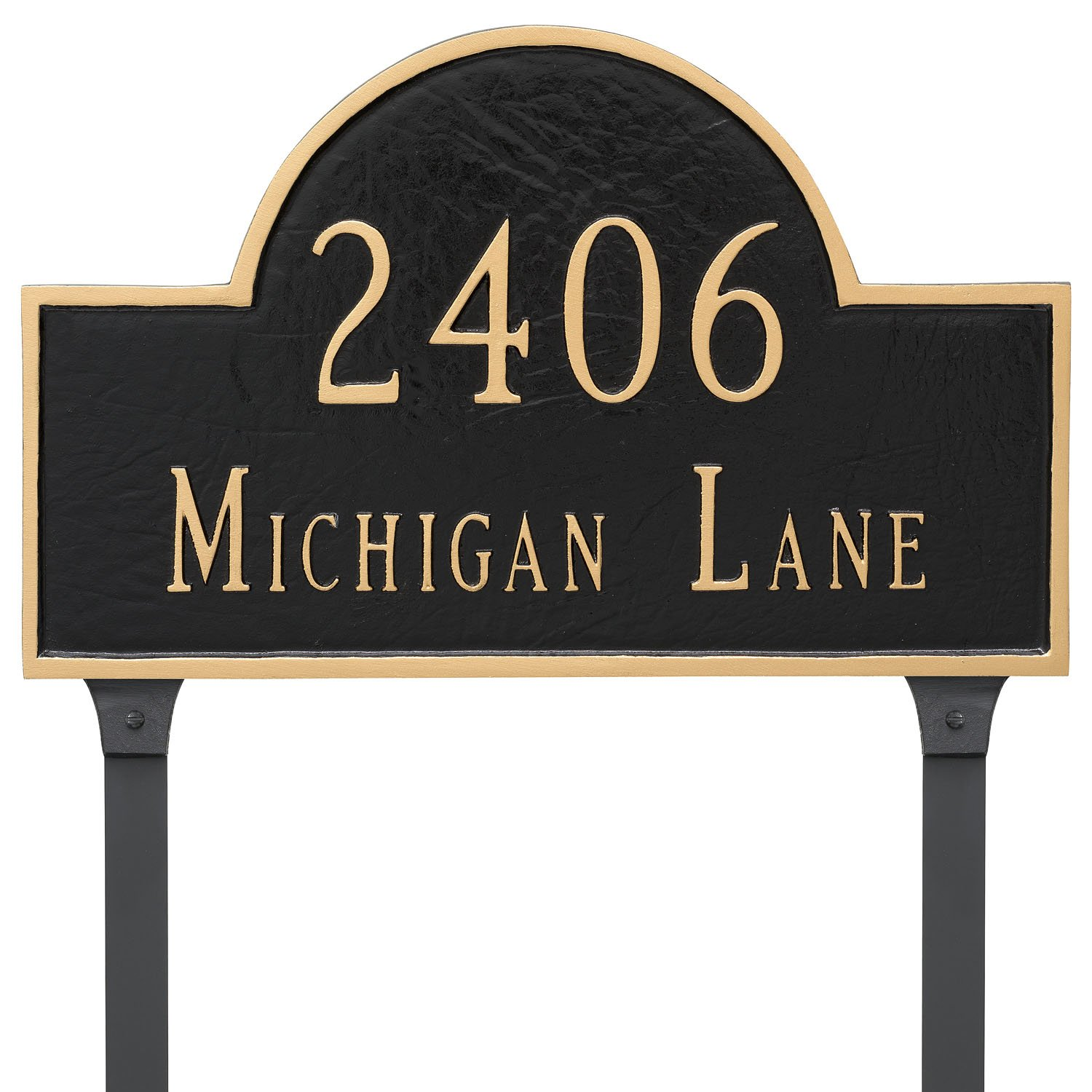 Montague Metal 10.5'' x 16.5'' Classic Arch Two Line Address Sign Plaque with Lawn Stakes, Standard, Sand/Silver