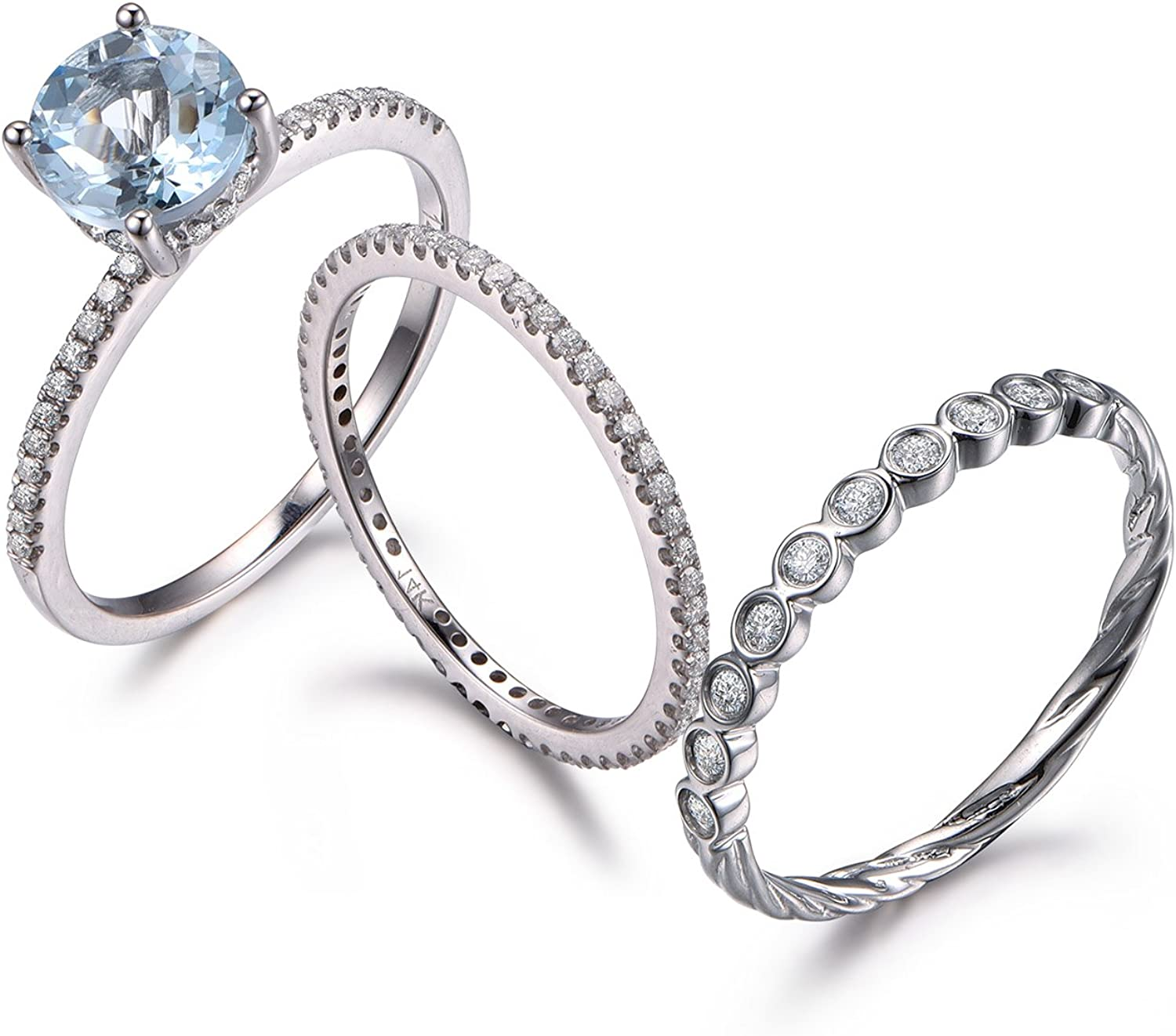 Amazon Com Myraygem Wedding Ring Sets Aquamarine Bridal Set White