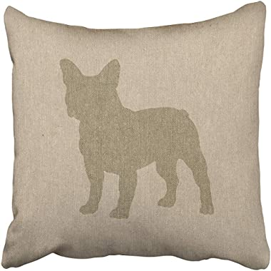 French Bulldog in Grey On Linen Look Cushions Case Throw Pillow Cover for Sofa Home Decorative Pillowslip Gift Ideas Household Pillowcase Zippered Pillow Covers 18X18 Inch