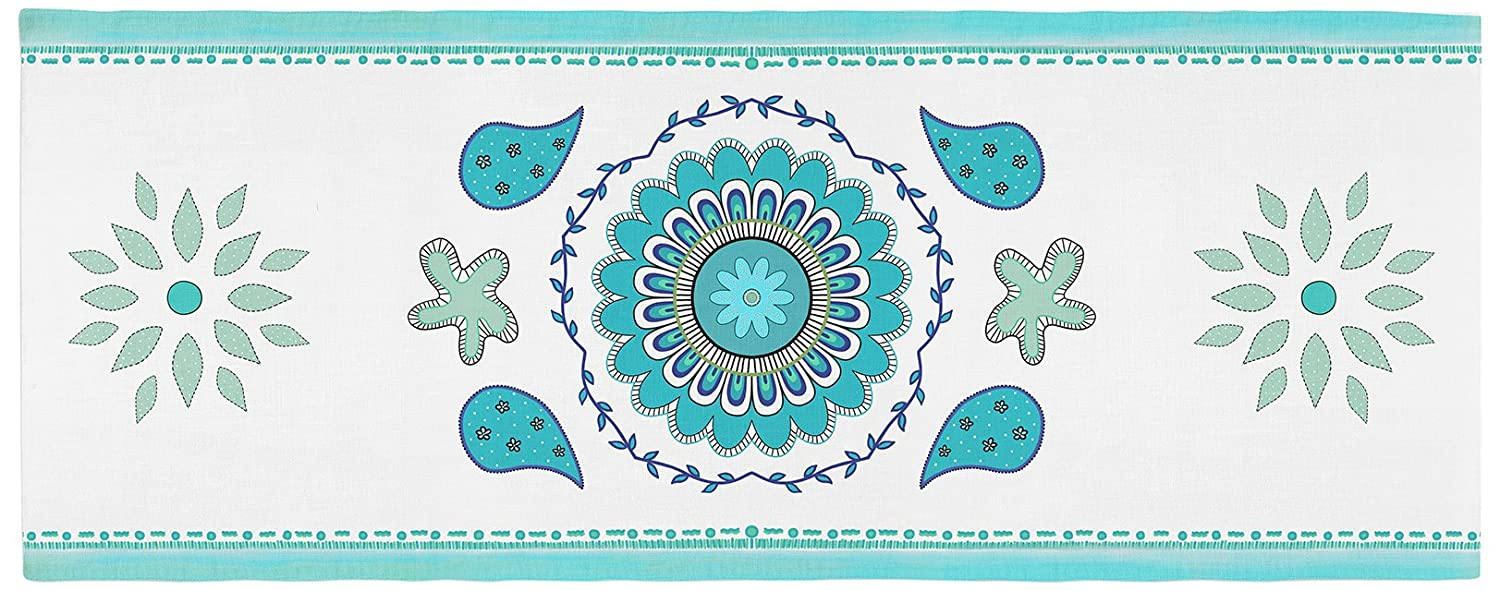 Kess InHouse Blue Mandala Design Bed Runner 34' x 86'