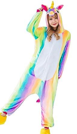 Aidonger Einhorn Kostum Pyjama Jumpsuit Unisex Kinder Erwachsene