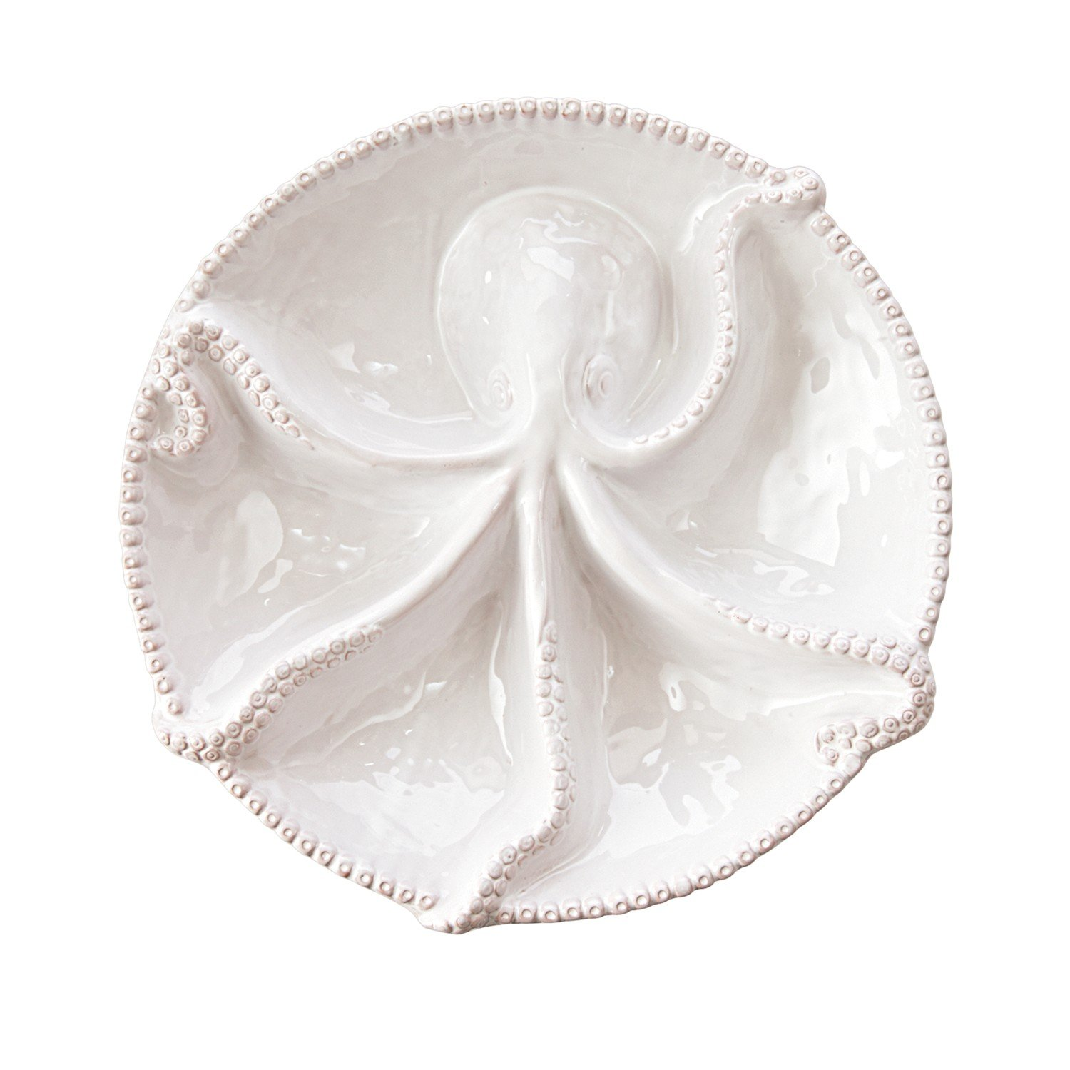 Mud Pie 4071175 Octopus Section Serving Platter Bowl, One Size, White