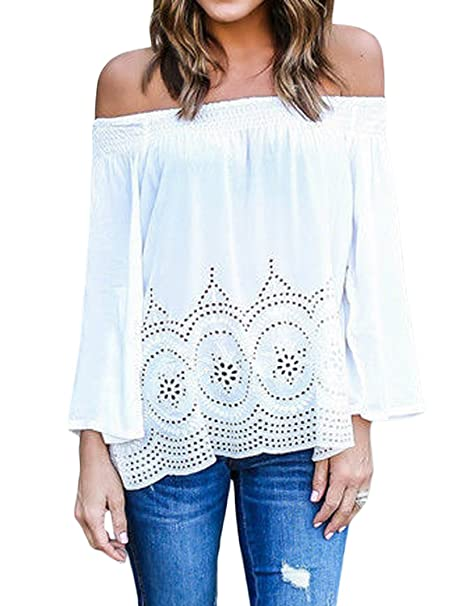 Minetom Blusa Camiseta Casual Elegante Verano Playa Cuello Barco Mangas Largas para Mujer Blanco ES 34