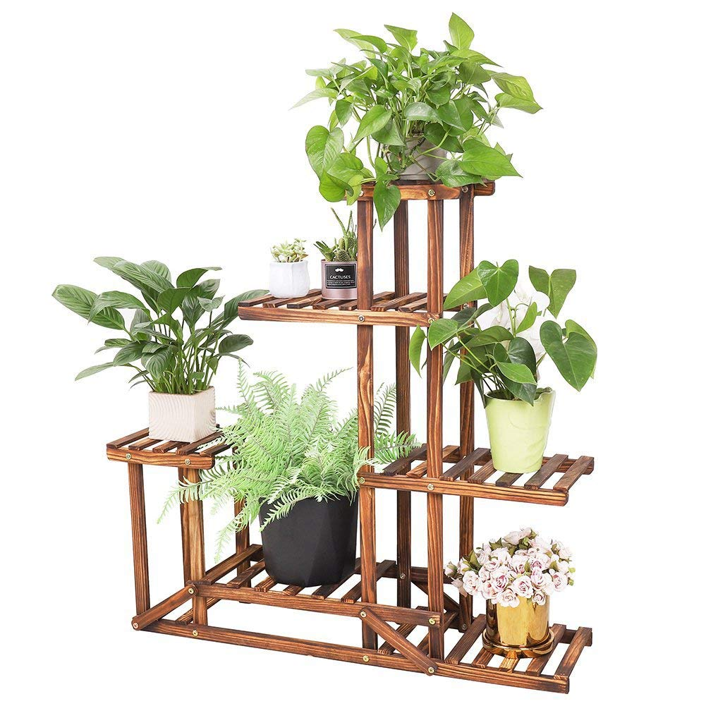 Wooden Plant Stand Flower Shelf Holder 5 Tier Pot Shelves Bonsai Display Storage Rack Outdoor Indoor Garden Patio for Multiple Plants 37.4x9.84x37.79 Inches by unho