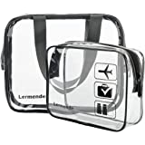 Lermende Clear Toiletry Bag TSA Approved Travel Carry On Airport Airline Compliant Bag Quart Sized 3-1-1 Kit Travel Luggage Pouch 2pcs/pack