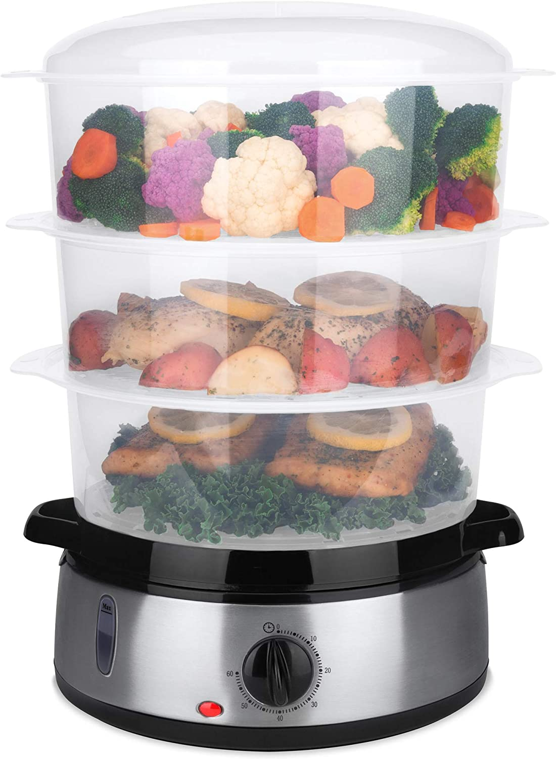 Best Choice Products 9.5qt 800W 3 Tier BPA-Free Electric Food Steamer w/Egg Pockets, Rice Bowl, Timer & Auto Shutoff