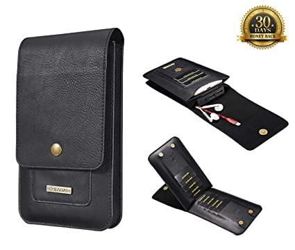 53634c464335 DG.MING Phone Holster Pouch with Metal Loop, Leather Cell Phone Belt  Holster Cover Case with Belt Clip for iPhone & Samsung Series, Power Bank,  Cards, ...