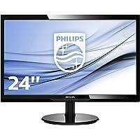 """Philips Monitor 246V5LSB Monitor 24"""" LED Full HD, 1920 x 1080, 250 cd/m², 5 ms, DVI, VGA, Attacco VESA, Nero"""