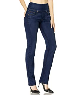 fec9d80bedced SPANX Womens The Signature Straight High Rise Side Zip Straight Leg Jeans