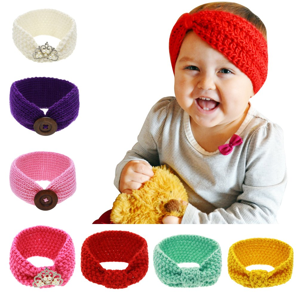 7 Pcs Assorted Color baby Knitting Infant Girl Button Headbands Turban Head Wrap Headbands Knotted Hair Band