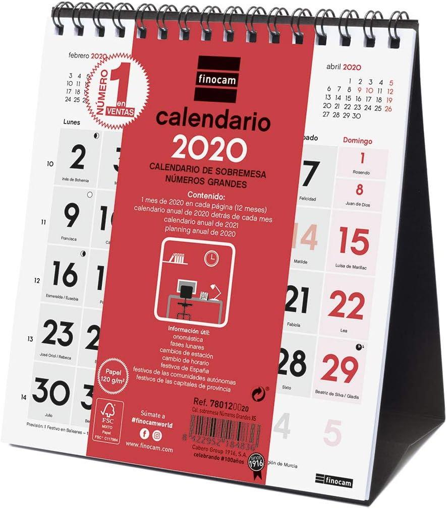 Finocam - Calendario de sobremesa 2020 Números Grandes español