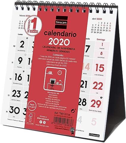 Finocam - Calendario de sobremesa 2020 Números Grandes español ...