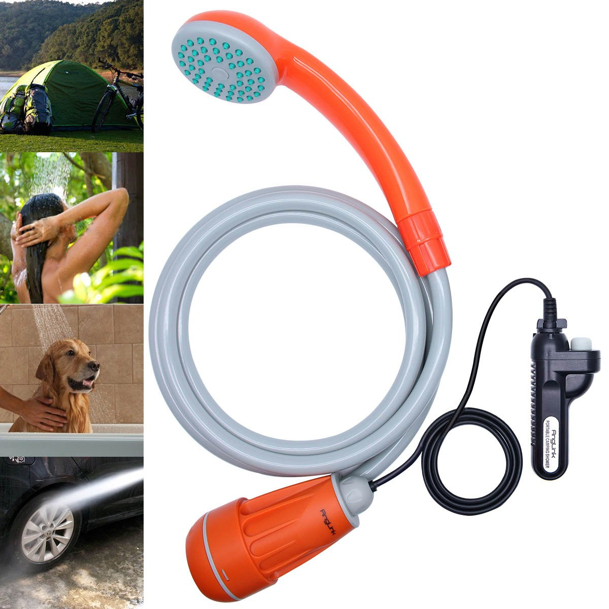 Anglink Upgraded Portable Camping Shower, Battery Powered Outdoor Shower for Outdoors, Camping, Pet Cleaning, Car Washing, Plants Watering - Turns Water from Bucket/Sink Into Steady, Gentle Stream