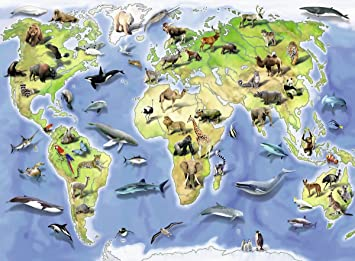 Amazon ravensburger colourful animal world map jigsaw puzzle ravensburger colourful animal world map jigsaw puzzle 100 piece gumiabroncs Gallery
