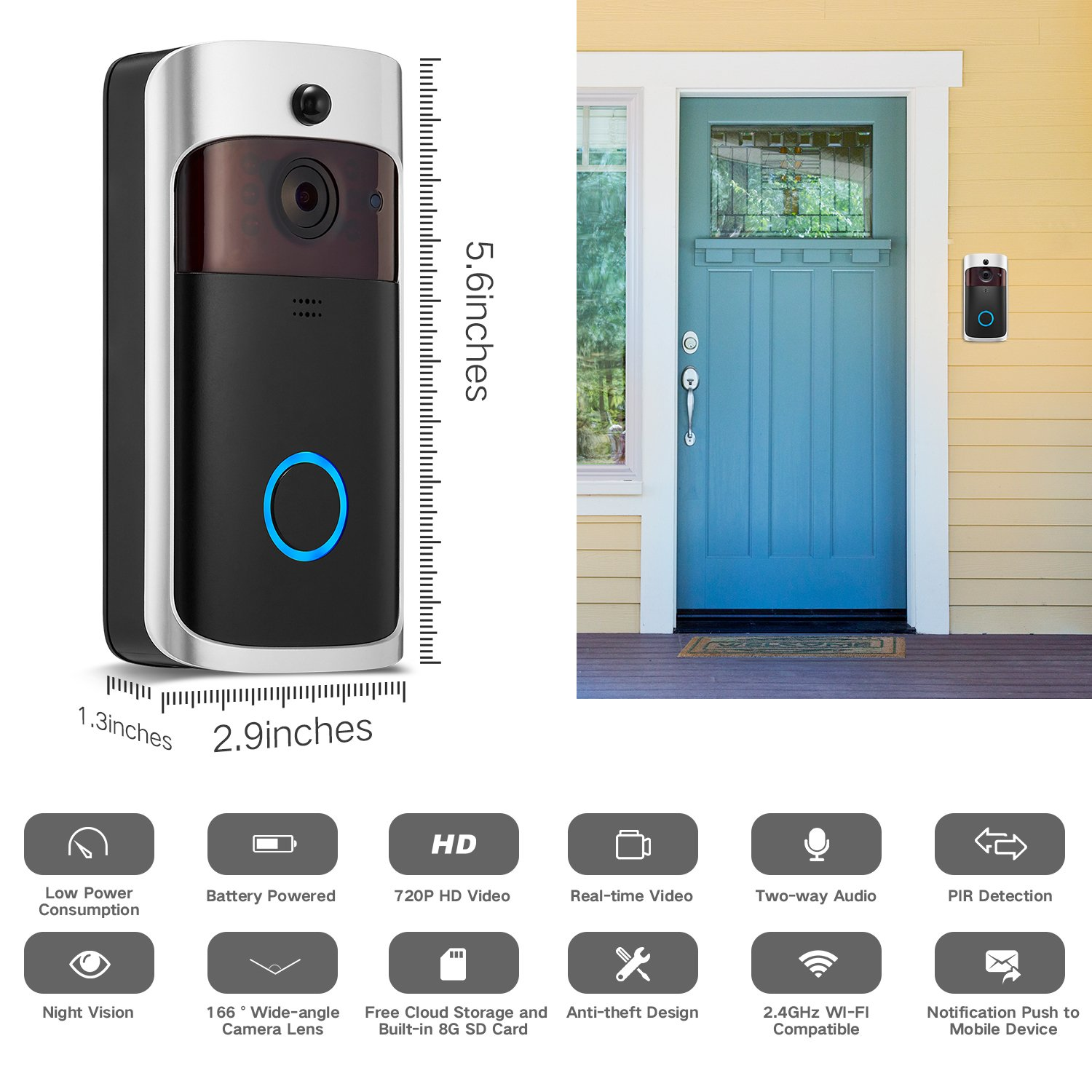 GJT Smart Video Doorbell Wireless Home WIFI Security Camera With Indoor Chime, 8G SD Card, Free Cloud Service, 2 Batteries, 2-Way Talk, Night Vision, PIR Motion Detection, APP Control for IOS Android by GJT (Image #2)