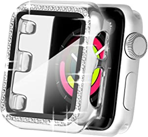 Secbolt 40mm Bling Case Compatible Apple Watch Band with Built-in Tempered Glass Screen Protector, All Around Protective Cover Frame Bumper for iWatch SE Series 6/5/4, Silver(40mm)