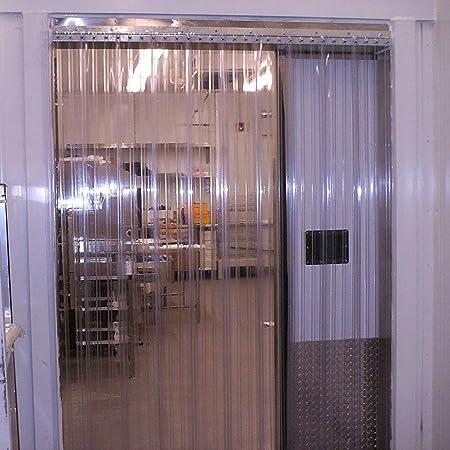 Pxyaz 5 Piezas Tiras de Cortina de plástico 200 cm de Altura x 75 cm de Ancho Tiras de Cortina Transparentes para Puertas de almacén Tapa de Tira de Puerta de supermercado,Stripe,2.3mm:
