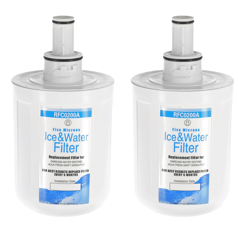 Qualtex Wasser Filter Patronen für Samsung Aqua Pure Plus/HAFIN Kühlschrank Gefrierfach–Pack von 2