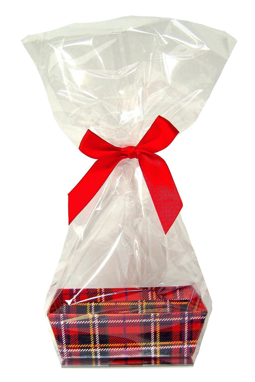 10 x MINI Gift Basket Kits - Red TARTAN Cardboard Tray, Cello Bag and Red Bow Jaffa Imports