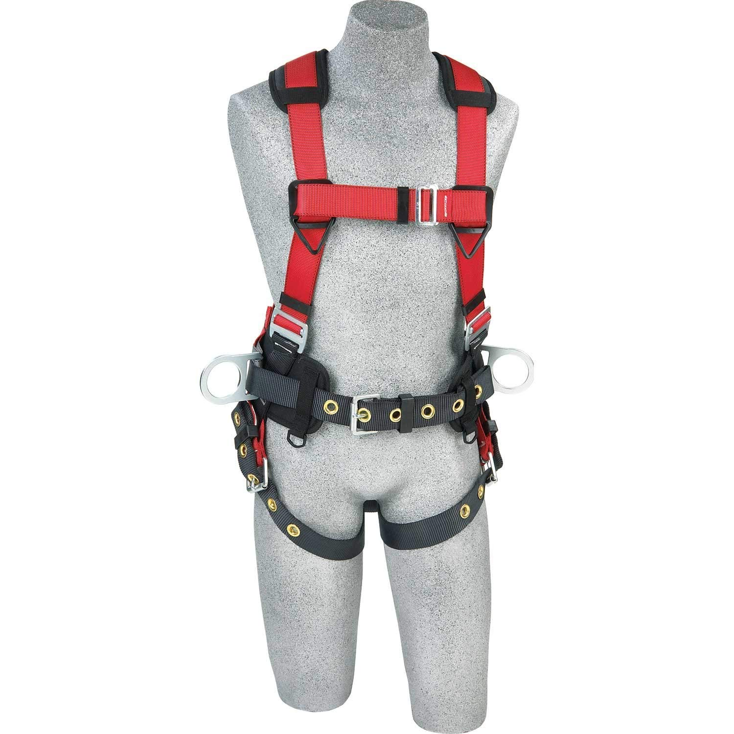 Protecta 1191210 ''Pro Line'' Construction Vest Style Full Body Harness, Extra Large, Red/Gray/Black