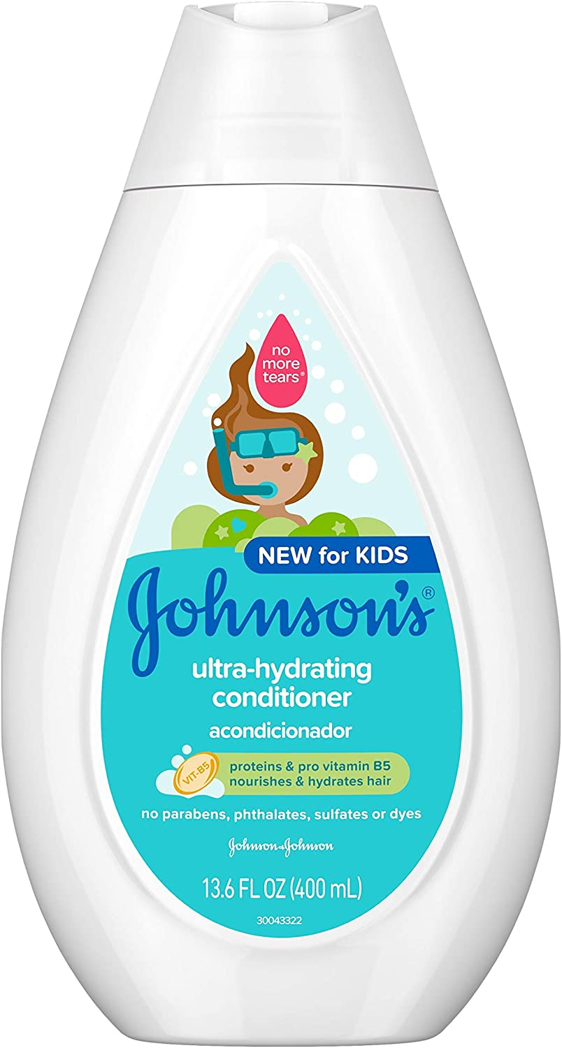 Johnson's Ultra-Hydrating Tear-Free Kids' Conditioner with Pro-Vitamin B5 & Proteins, Paraben-, Sulfate- & Dye-Free Formula, Hypoallergenic & Gentle for Toddler's Hair, 13.6 fl. oz