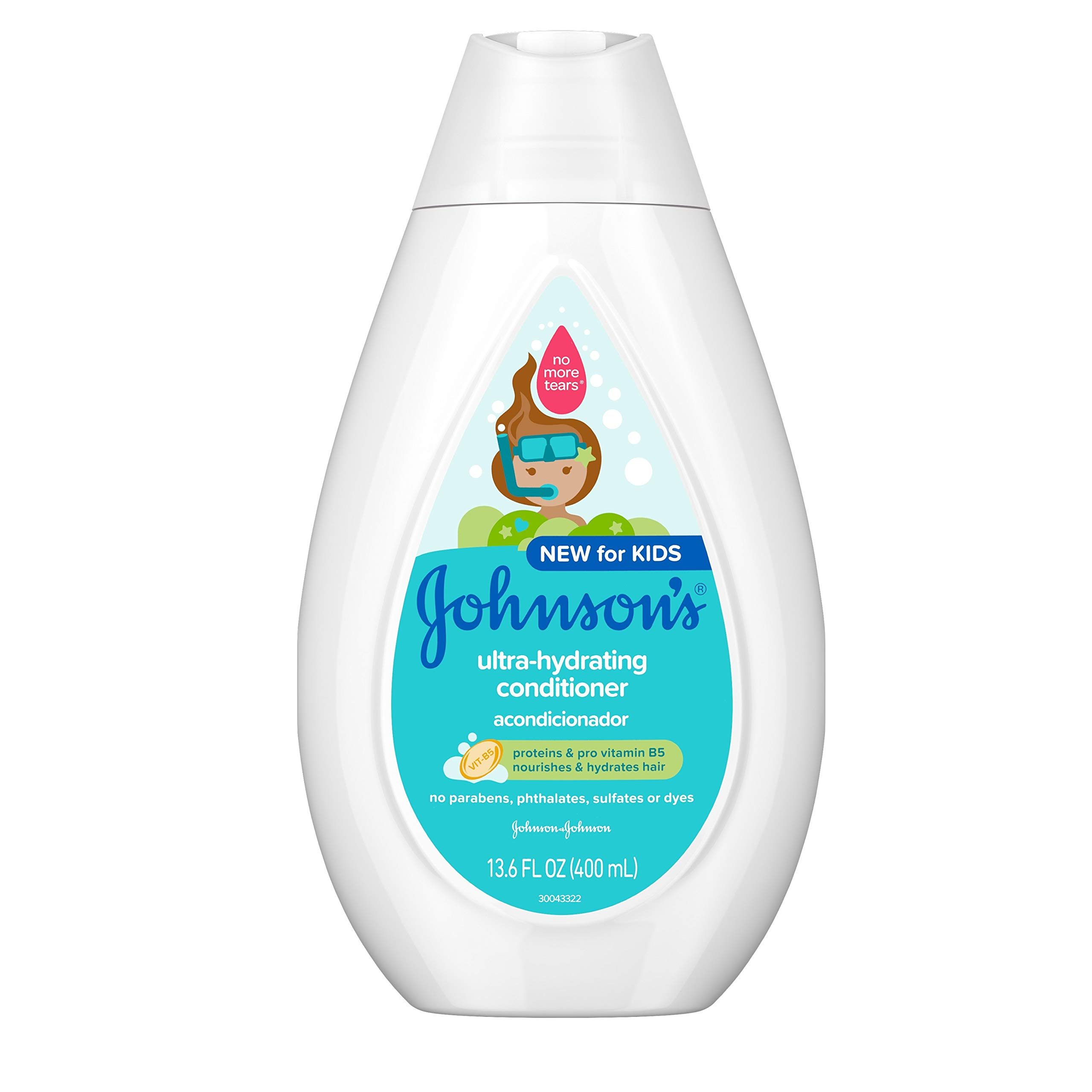 Johnson's Ultra-Hydrating Tear-Free Kids' Conditioner with Pro-Vitamin B5 & Proteins, Paraben-, Sulfate- & Dye-Free…