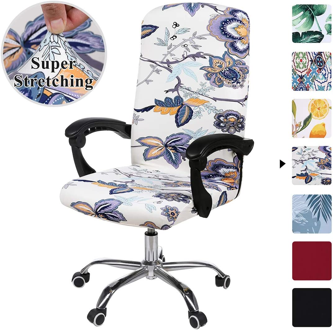 smiry Stretch Printed Computer Office Chair Covers, Soft Fit Universal Desk Rotating Chair Slipcovers, Removable Washable Anti-Dust Spandex Chair Protector Cover with Zipper (Beige)