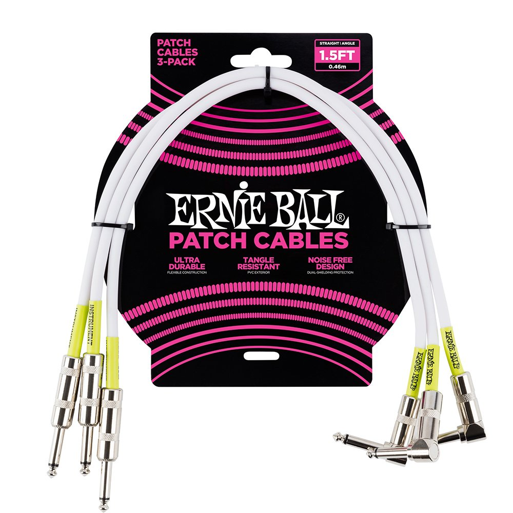 Ernie Ball 1.5 Straight//Angle Patch Cable 3-pack White