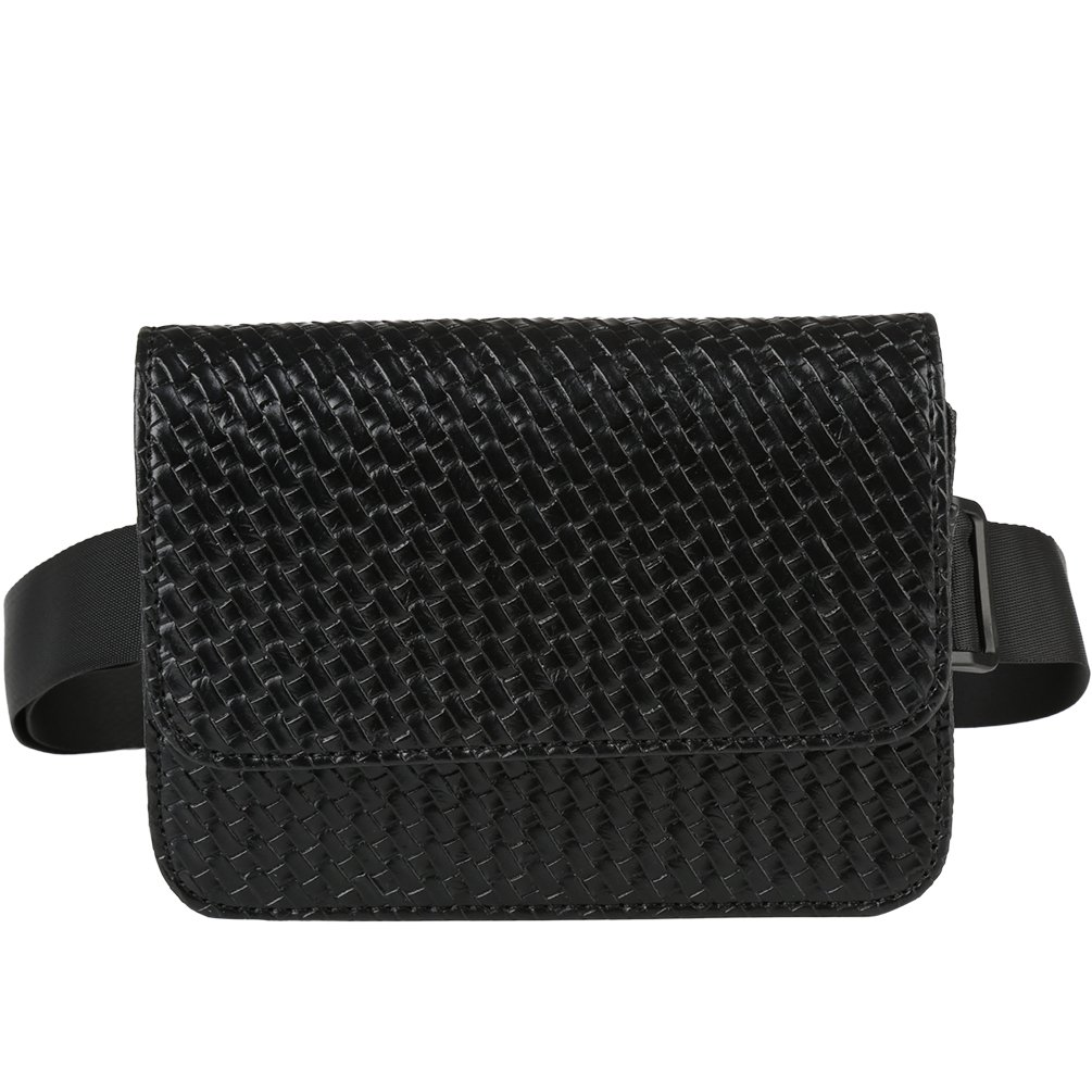 Vbiger Women Waist Bag PU Leather Waist Pack Trendy Fanny Pack Stylish Waist Pouch with Woven Pattern