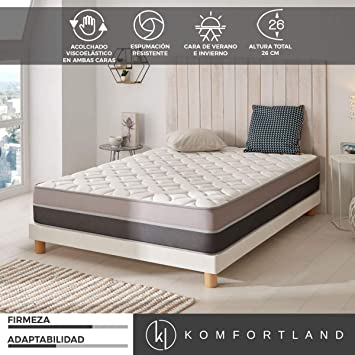 Komfortland Colchon 90x180 viscoelastico Memory Advance de Altura 26cm, 6 cm Viscosensitive