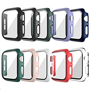 10 Pack Hard Case for Apple Watch Series 3 42mm with Built-in Tempered Glass Screen Protector,JZK Thin Bumper Full Coverage Bubble-Free Cover for iWatch Series 3/2/1 42mm Accessories