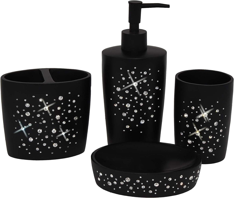 Wodlo - Star All Sky Bathroom Accessories Set - Complete Bath Accessory Sets Includes Soap Dispenser, Toothbrush Holder, Tumbler, Soap Dish,