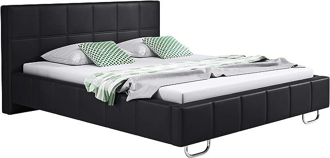 muebles bonitos Cama de Matrimonio Moderna Sofia con somier de láminas para colchón de 160x200cm Negro diseño Italiano Elegante
