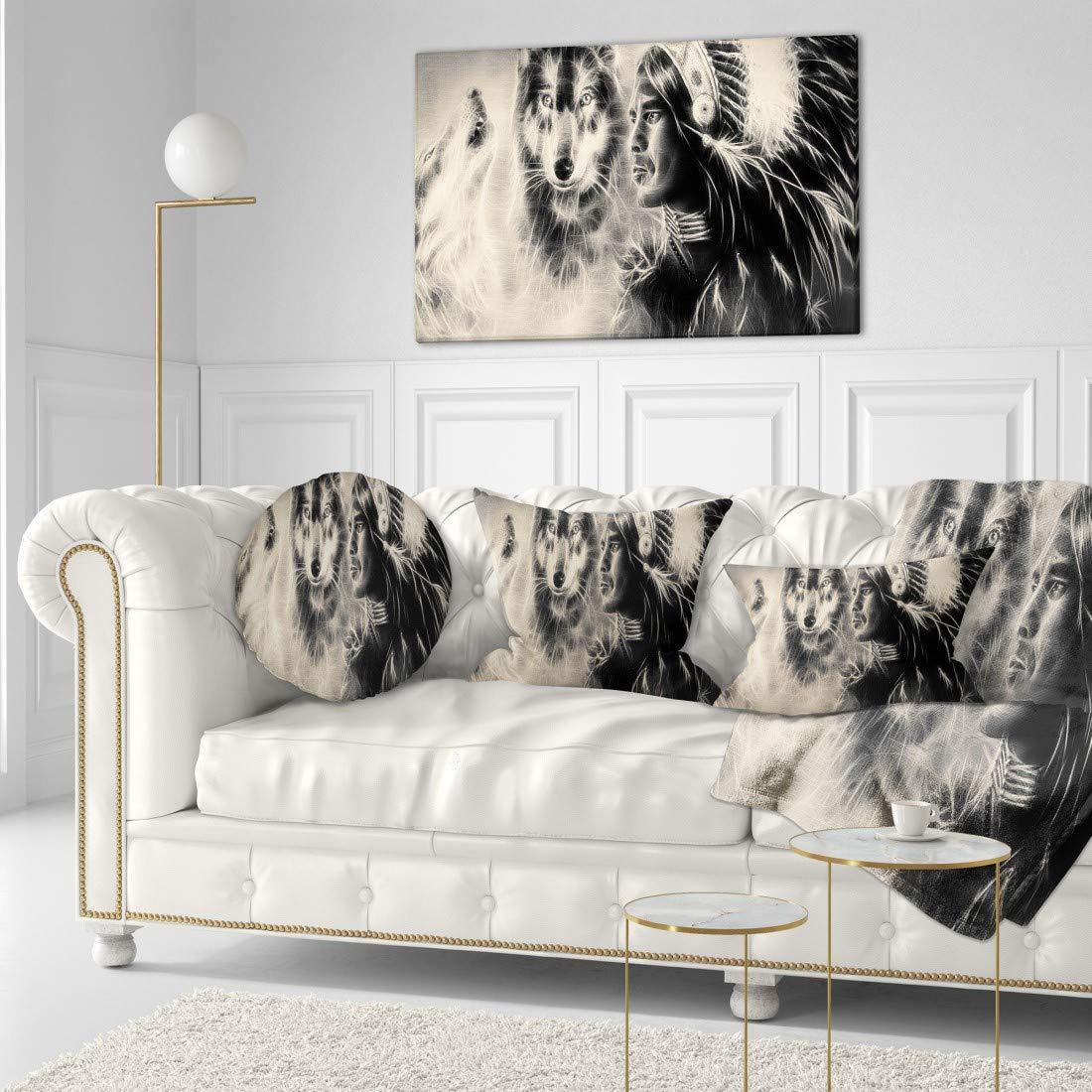 Designart Pt7185 40 20 Indian Warrior With Wolves Digital Art Canvas Print 40 X 20 Amazon In Home Kitchen