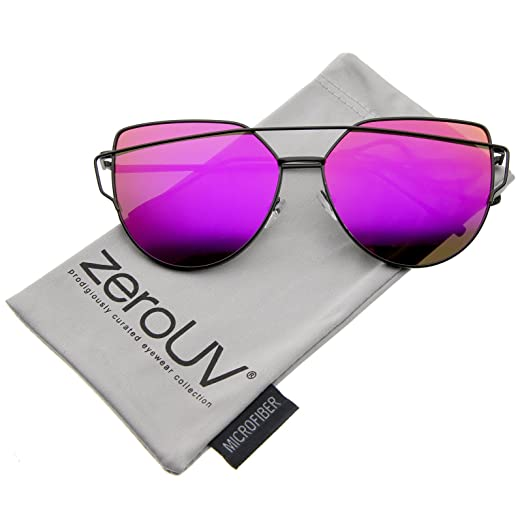 b69e1eed5f Oversize Metal Frame Thin Temple Color Mirror Flat Lens Aviator Sunglasses  62mm (Black Magenta