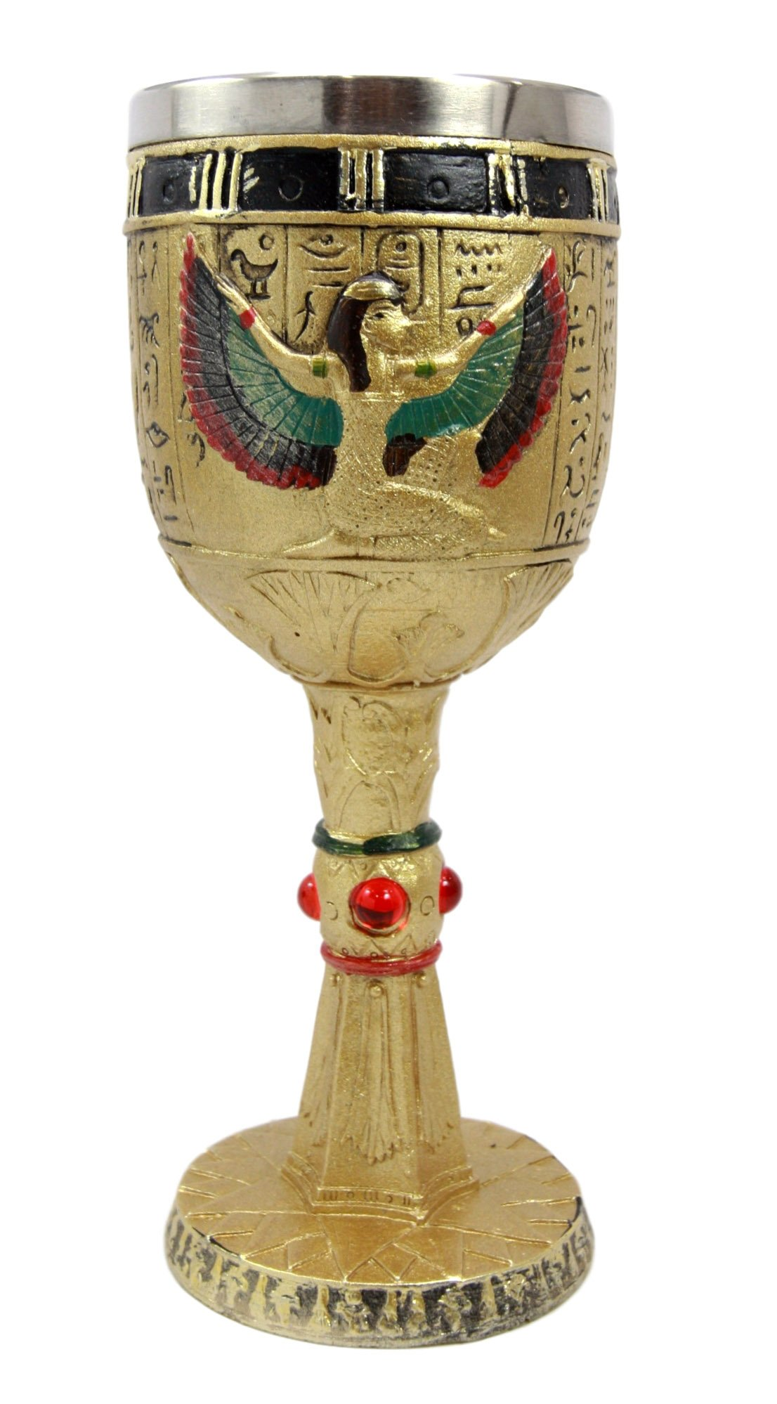 Egyptian Collectible Magical Goddess Of Wisdom Isis With Open Wings 6oz Resin Wine Goblet Chalice With Stainless Steel Liner 7.25''H