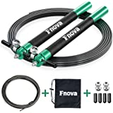 Fnova Jump Rope, Crossfit Speed Rope Best for Double Unders, WOD, MMA, Boxing & Fitness Training, 10 ft Adjustable Cable, Bonus Carrying Bag and Replacement Parts