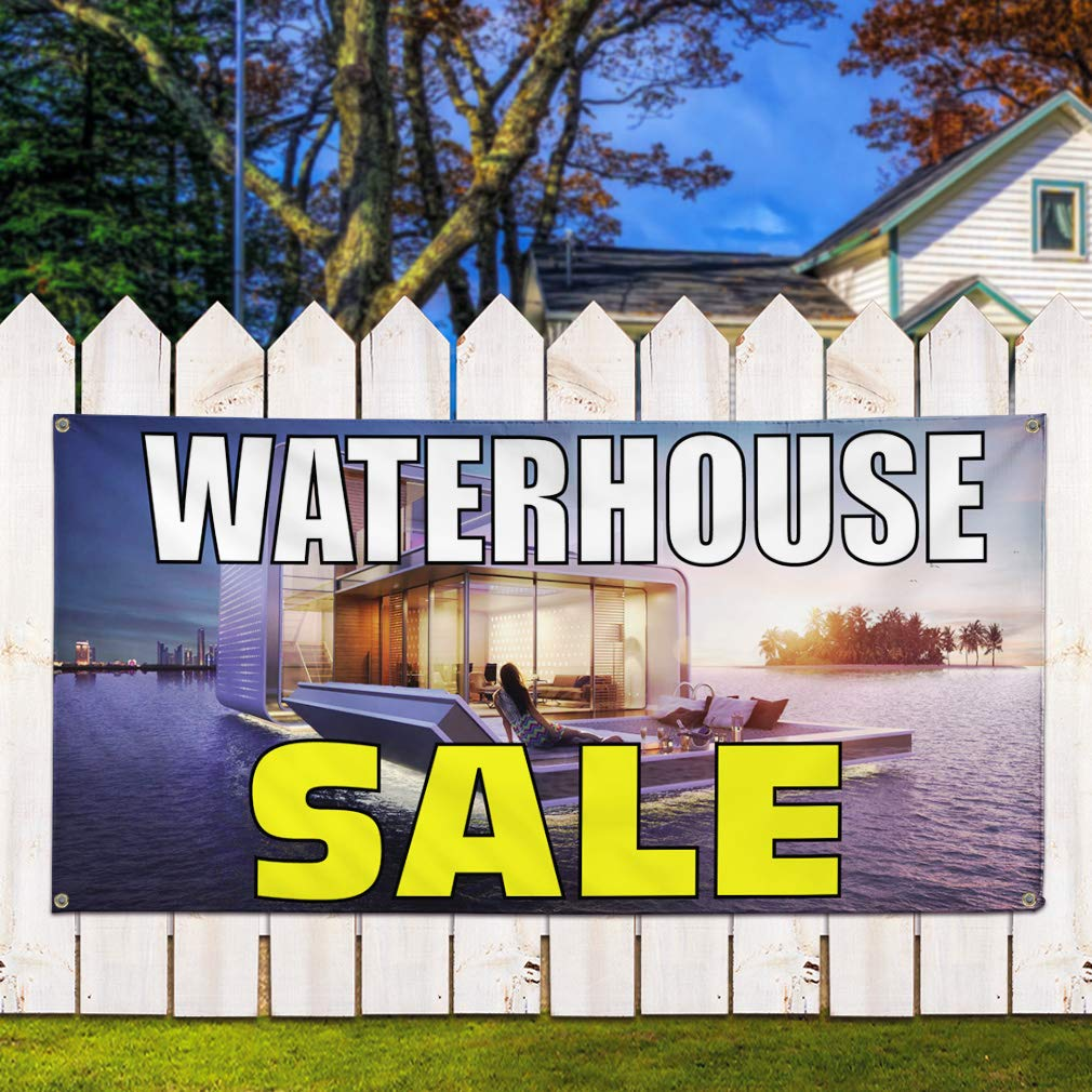 Set of 2 Multiple Sizes Available Vinyl Banner Sign Waterhouse Sale #1 Business Waterhouse Sale Marketing Advertising Grey 32inx80in 6 Grommets