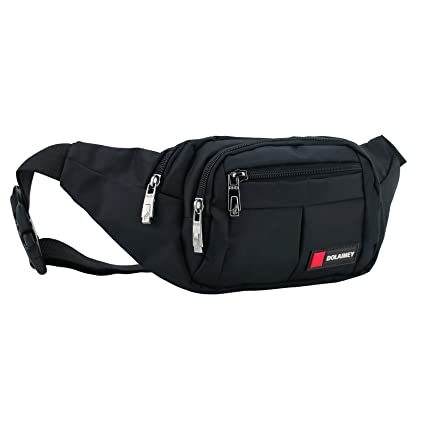 d45c56fc0c5c Black Fanny Pack Waist Bag for Men Women Hip Bum Bag with Extender Strap  for Outdoor