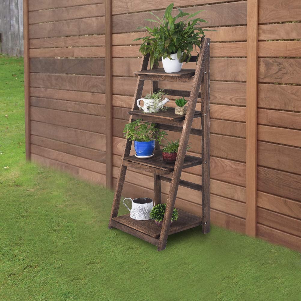 RHF Foldable Ladder Shelf,Outdoor Plant Stand,Indoor Flower Pot Stand,Flower Pot Ladder,Folding Ladder Display,Free Standing, Patio Rustic Wood Stand with Shelves,4 Tier Stand Outdoor,Pot Rack Rustic